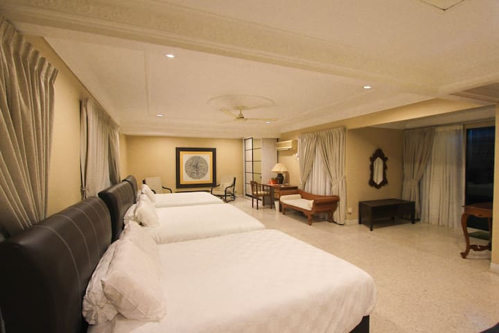 Bedroom 4 - upstairs with large balcony overlooking pool and the sea