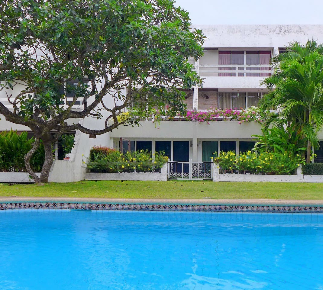 A ground floor beach apartment with direct access to lush garden, the swimming pool and a few meters away from the sea.  This is the only property in Bang Sa Re that has 200 meters of private beach.  The apartment is perfect for a weekend getaway or a long term stay in a quiet part of this popular seaside town.