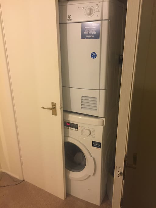 Washing Machine and Tumble Dryer available to use also, with Ironing board and iron.