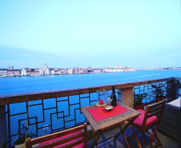 Magic terrace with view of Venice.