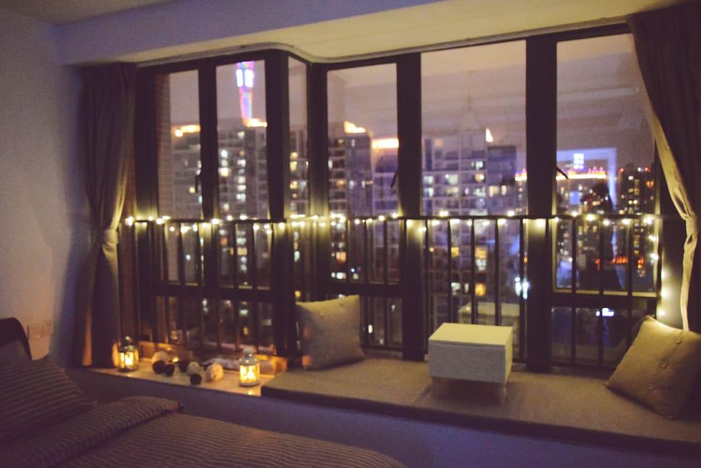 看到广州塔的夜景Night View
