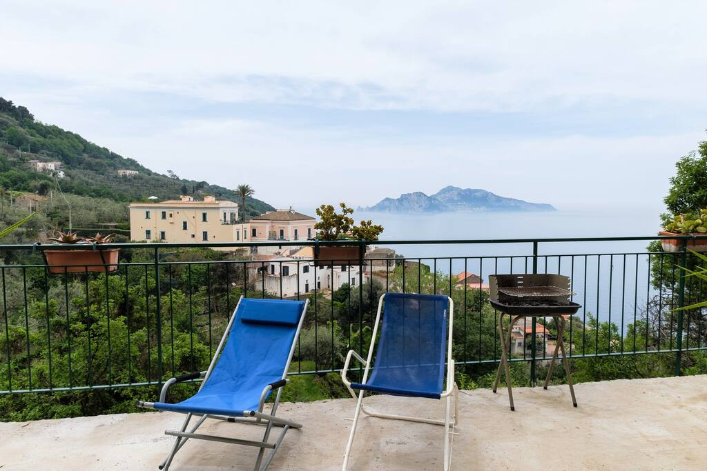 large balcony with sea view on Capri