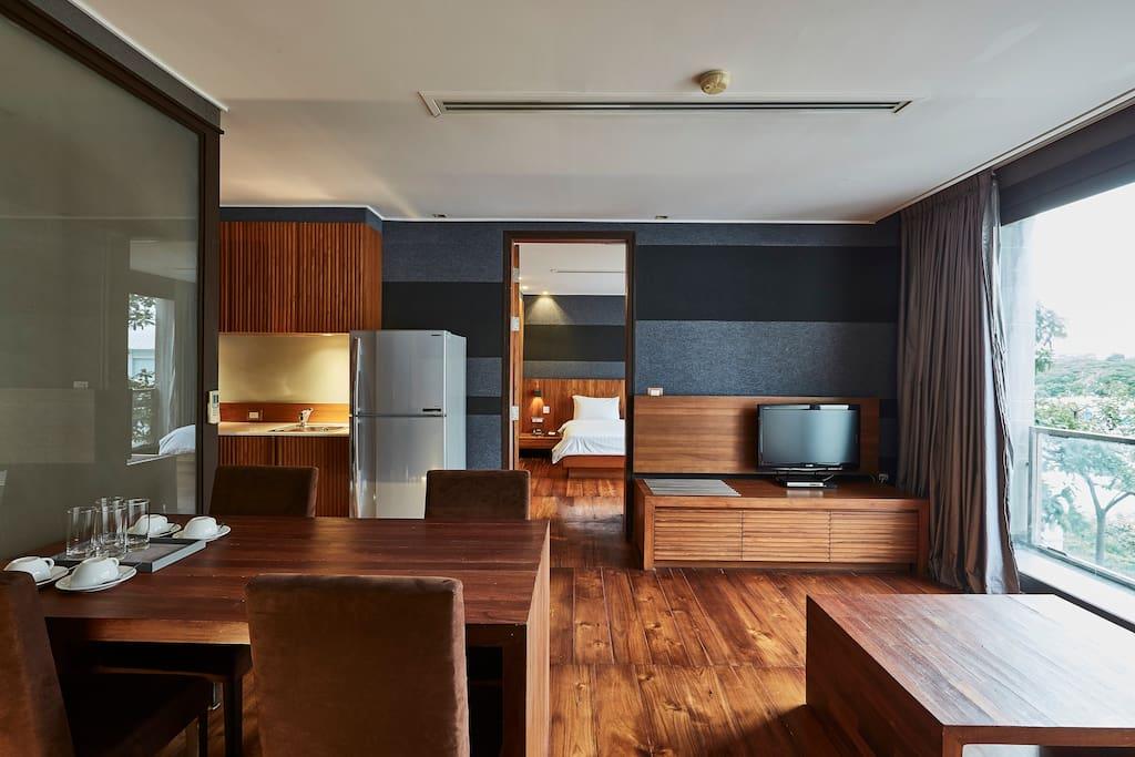 LUXX's Suite L living area look to master bedroom