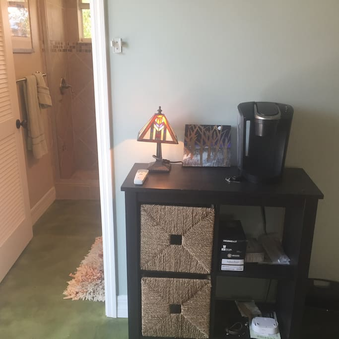 Coffee maker and  teapot, small fridge for continental breakfast... enjoy on the patio before heading off to all that Sarasota has to offer