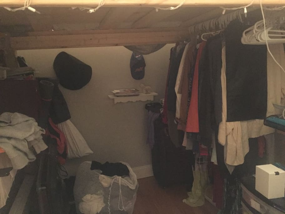 Clothes rack & under bed area.