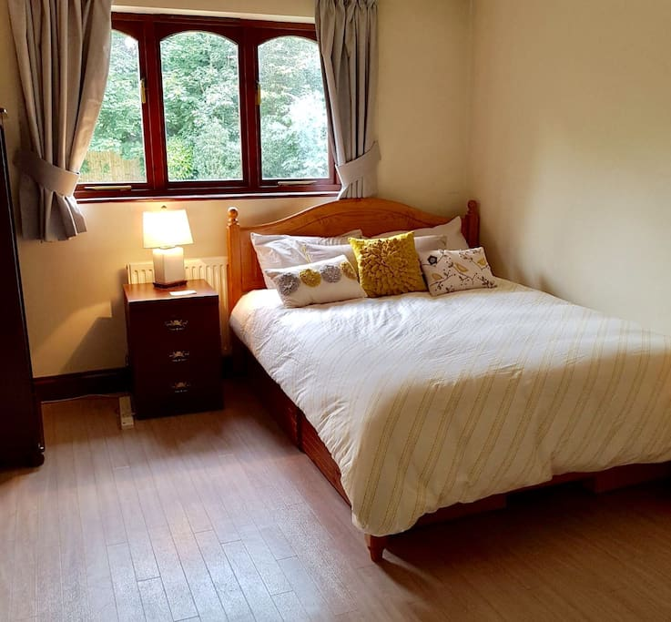 Comfy double bed with clean linen