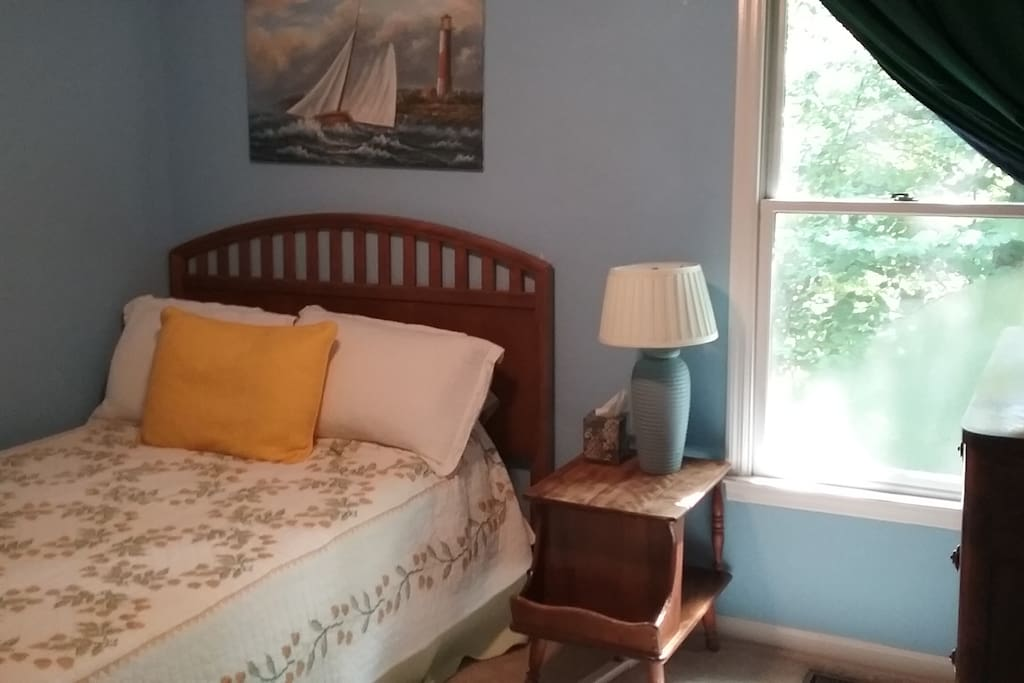 Second bedroom with full size bed, nautical theme