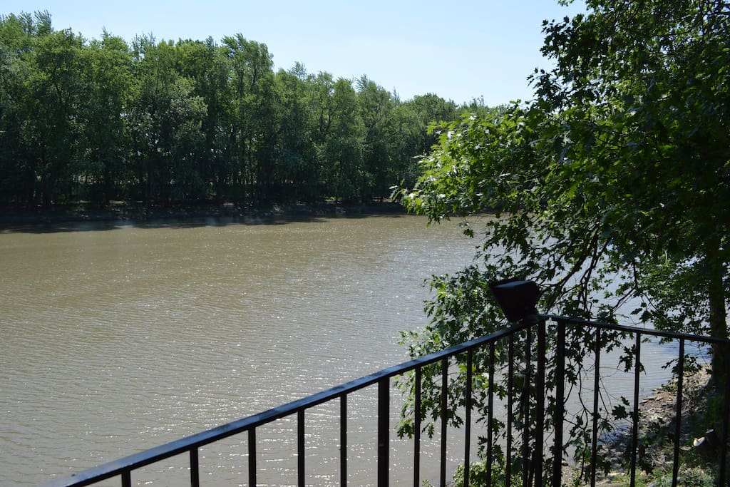 a view of the Iroquois River looking south from the deck