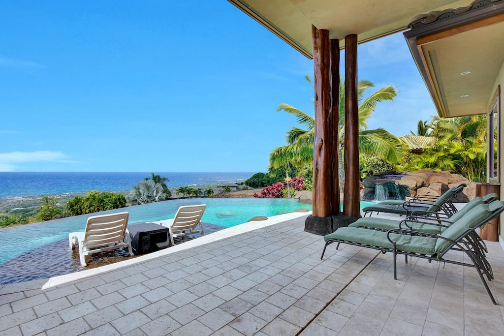 Covered Lanai Overlooking Infinity Pool and Coastline Views