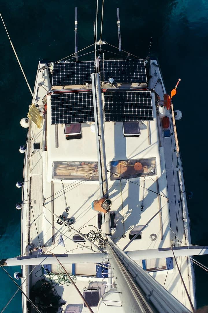 Catamaran vu d'en haut en Martinique