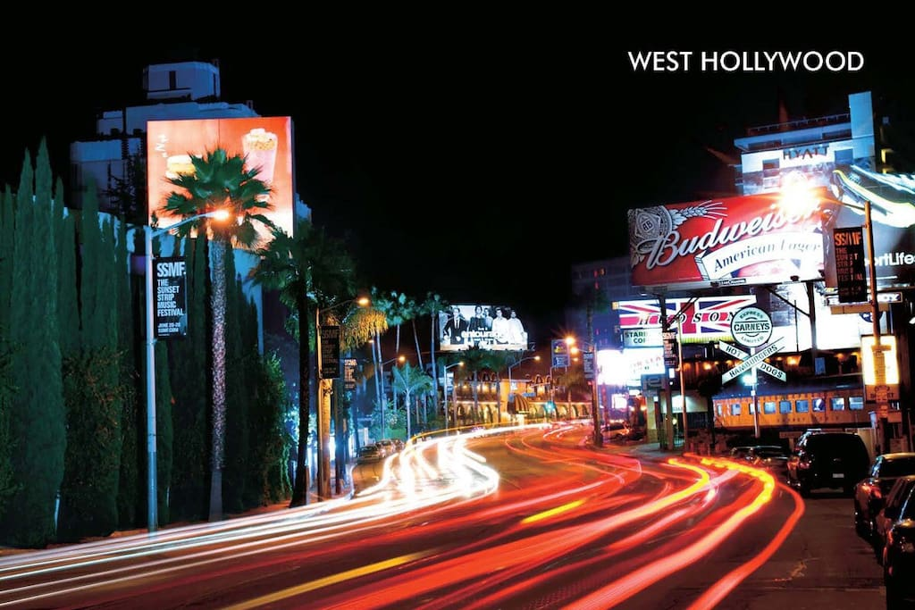 The famous Sunset Strip - 5 min away!