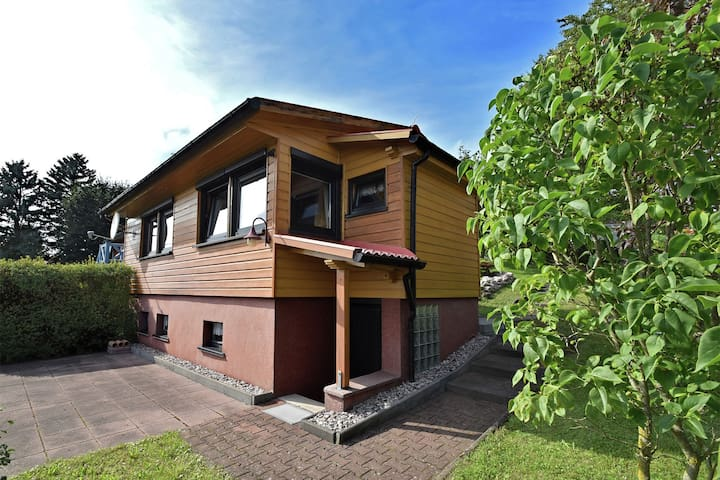 Nice, detached wooden house in the Thuringian Forest with a magnificent view