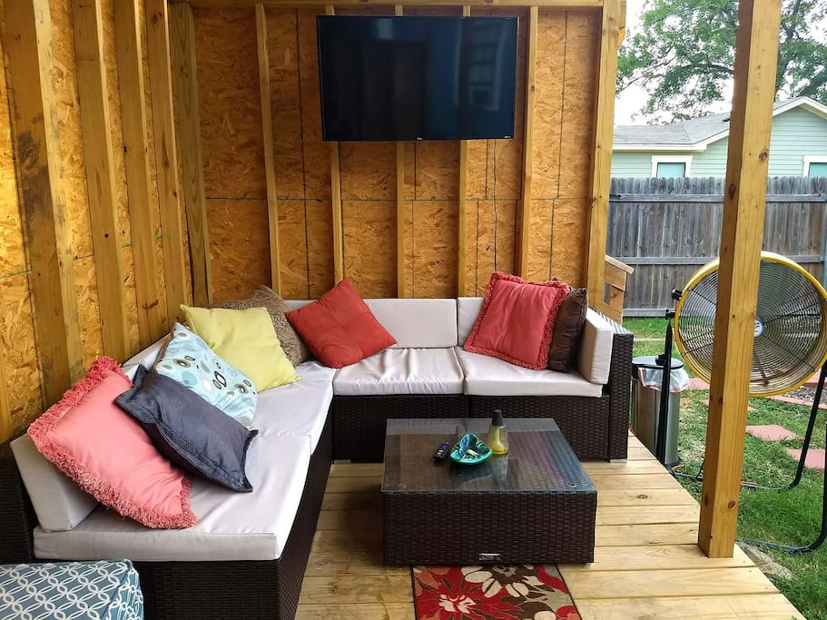 Outdoor living space with TV