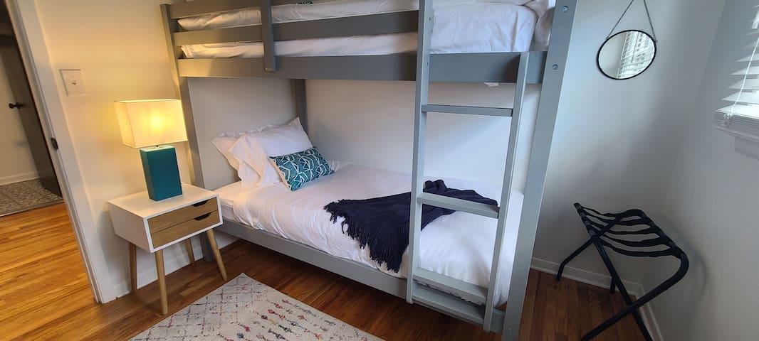 Bedroom 4: Twin bunkbed, dresser and closet.