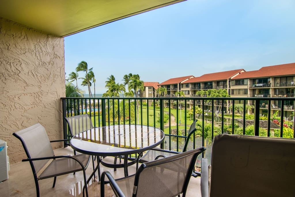 Enjoy morning coffee and sunsets on your private lanai
