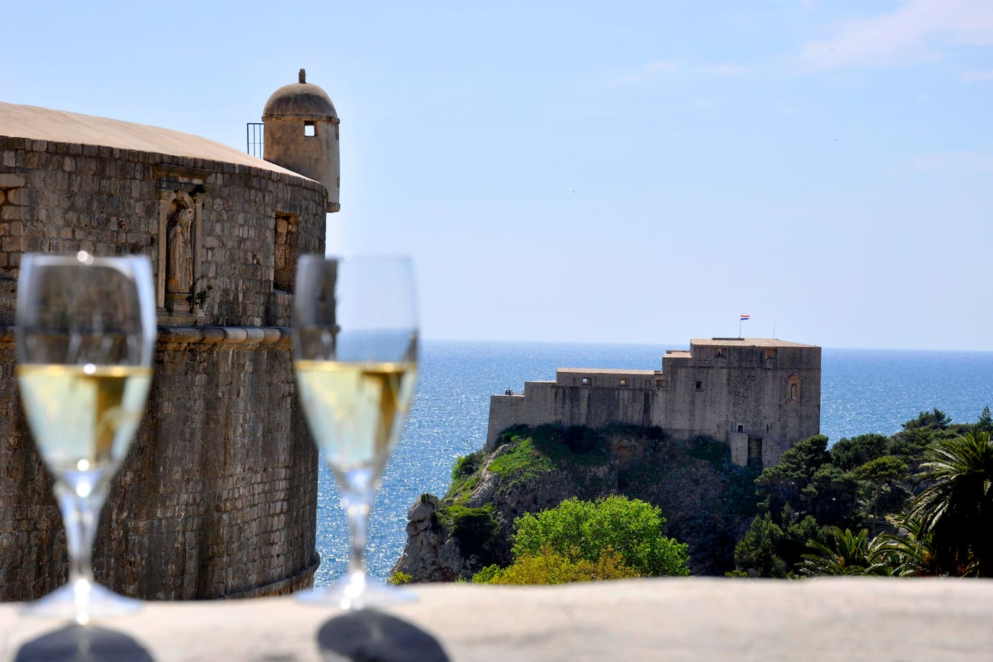 "From terrace you have stunning view of the sea and tower ""Lovrijenac"". This terrace is literally few meters from ""Minceta"", old citys main fortress."
