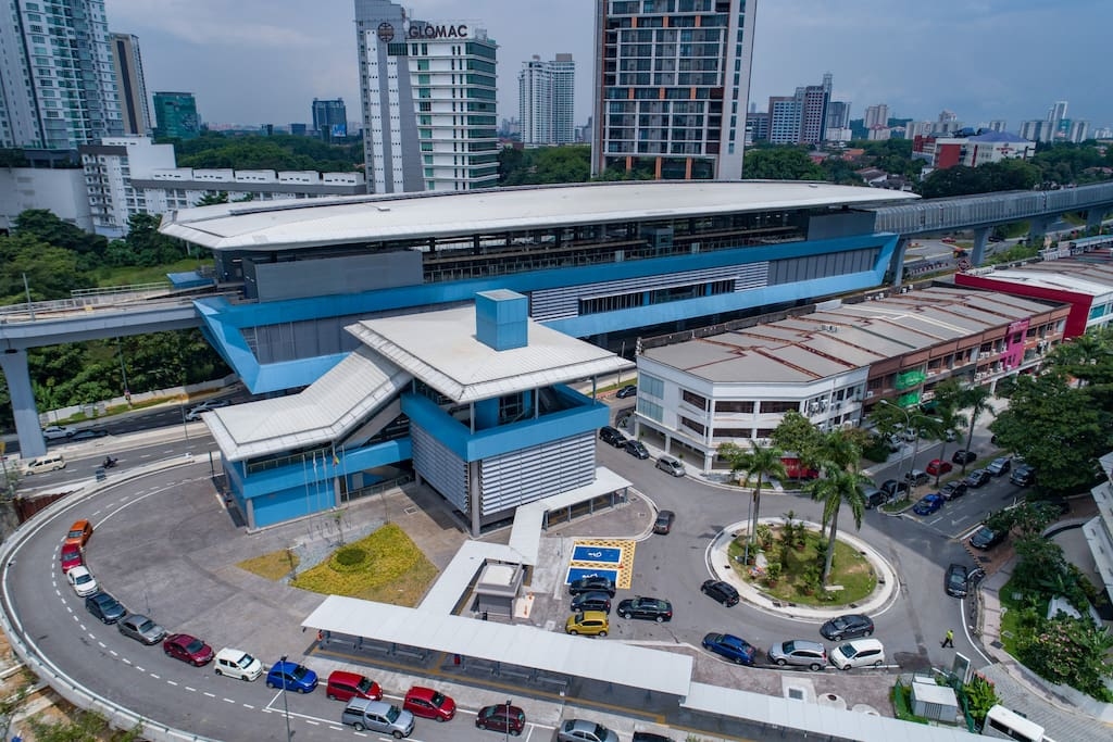 Aerial view of the MRT station with Glomac Damansara Residences in the backdrop. Distance to station is 150 meters.