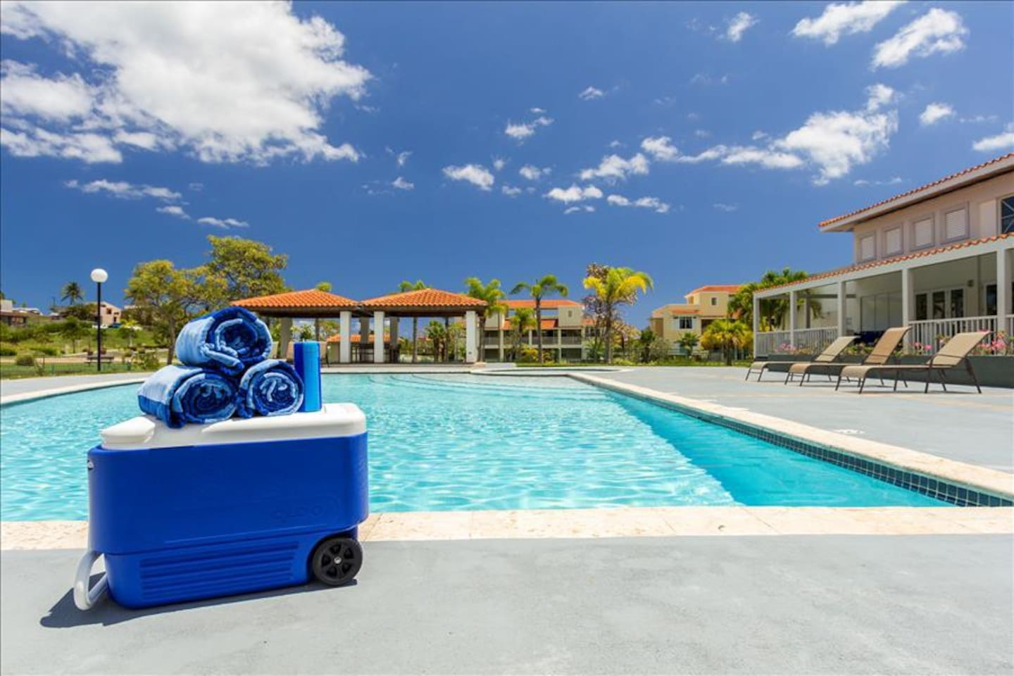 Pool, cooler, towels, and speaker included!