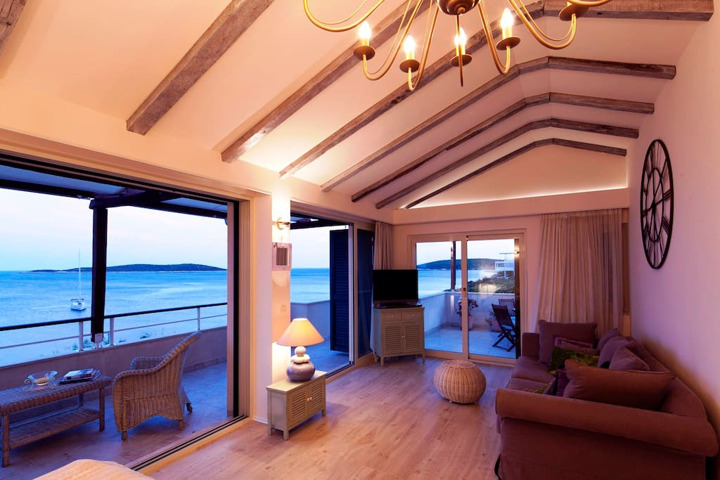 Master bedroom with two private seafront terraces