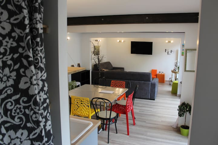 House parking terrace Reims center 10 people - Reims - Hus