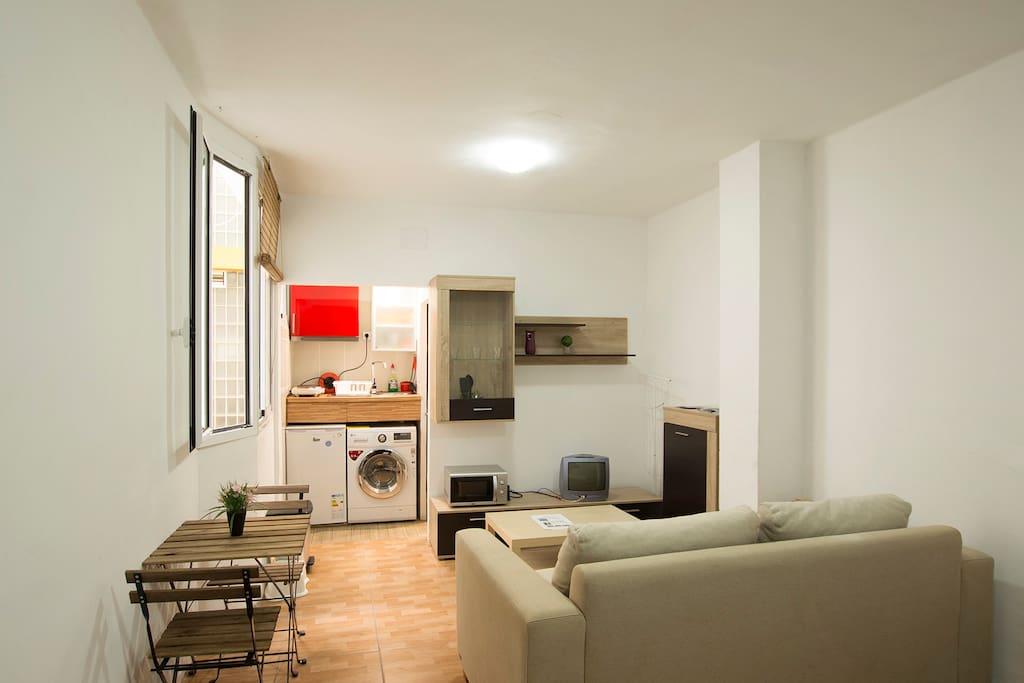Zona de Sala de estar y zona de cocina