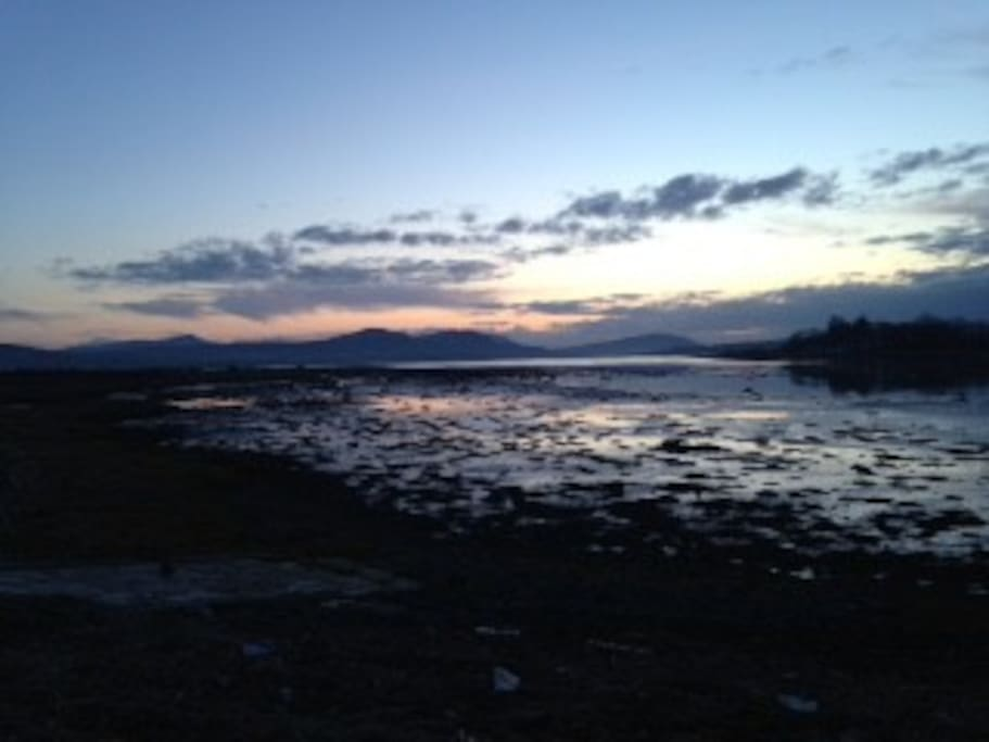 View over Trawbreaga Bay from Malin Bridge at Sunset