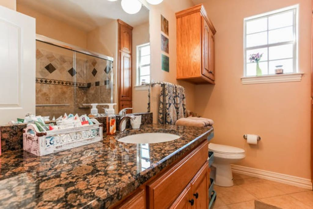 Marble counters & spacious shower