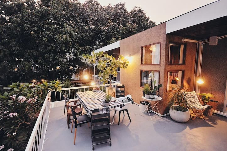 Common use balcony outside your bedroom