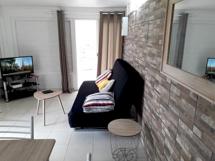 Apartment with 2 bedrooms in Saint-Joseph, with enclosed garden and WiFi - 7 km from the beach