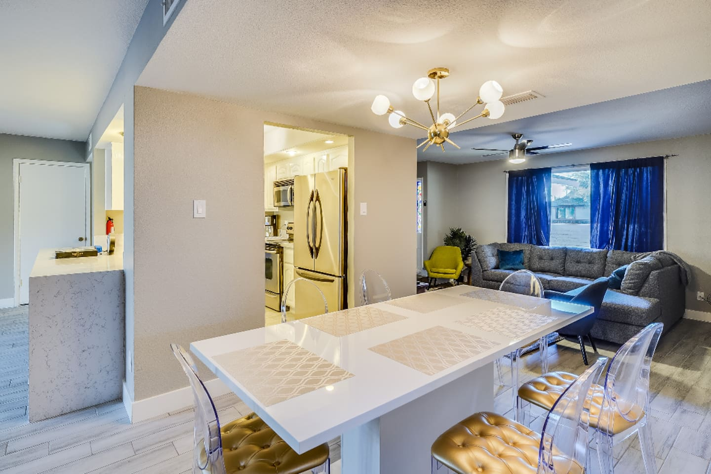 Completely remodeled 4 bed/ 2 bath home with new floors, baseboards, kitchen, granite, sinks, appliances, mindful grey paint, custom furnishing and much more!