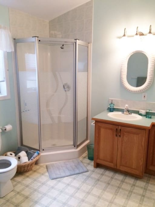 Main bath with separate shower and laundry room