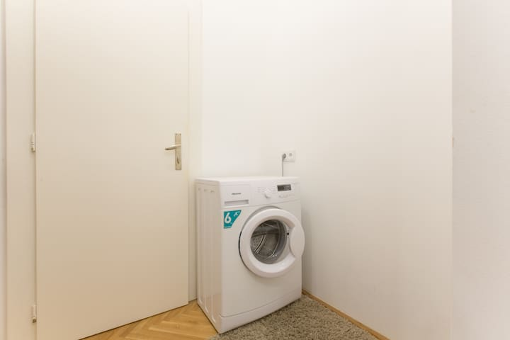 Need to wash your clothes? Our new washing machine is available for all your needs. Washing powder is provided as well.