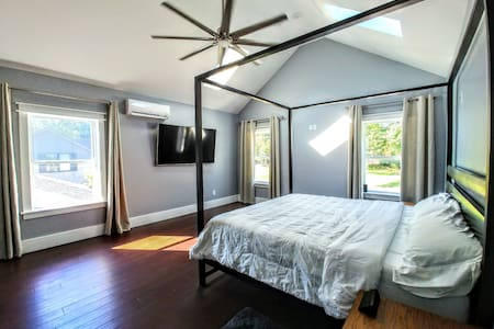 Master suite in modern solar powered home