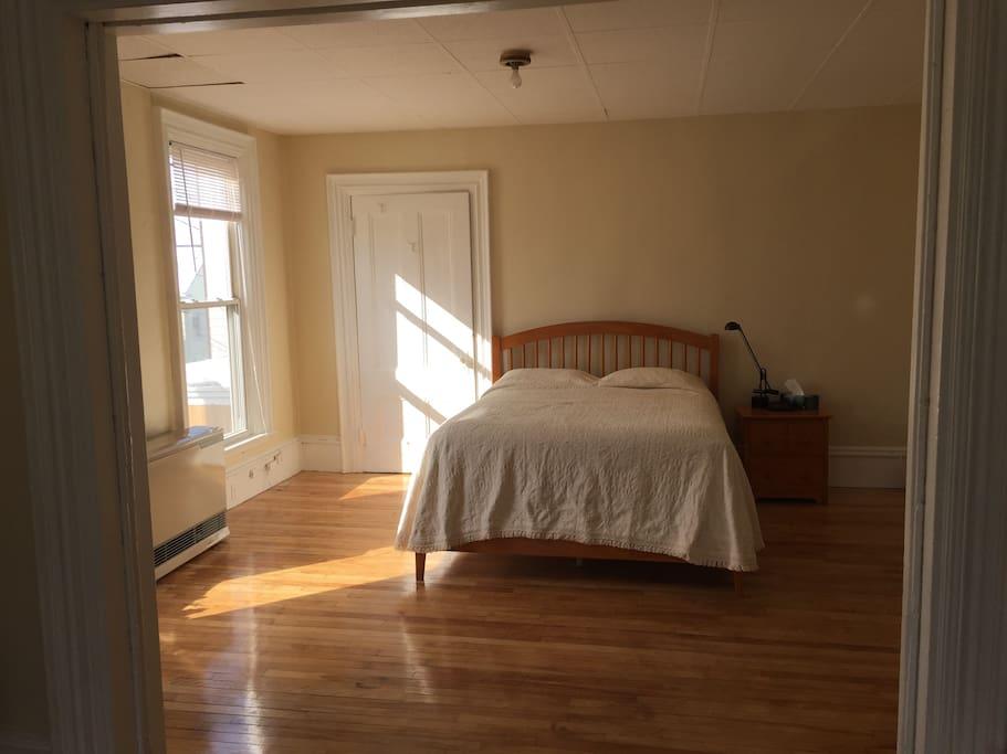 Beautiful new bedroom set with hard wood floors