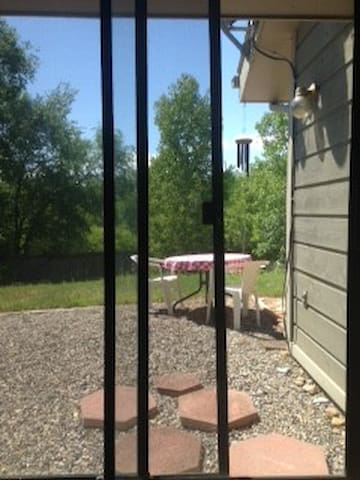 Private entrance and view out to back yard