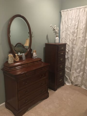 8-Drawer Dresser with Mirror, 6-Drawer Lingerie Chest, and Blackout Curtain Liner