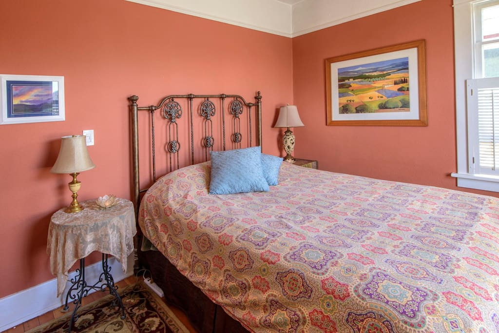 Super comfortable memory top bed and lovely natural light!
