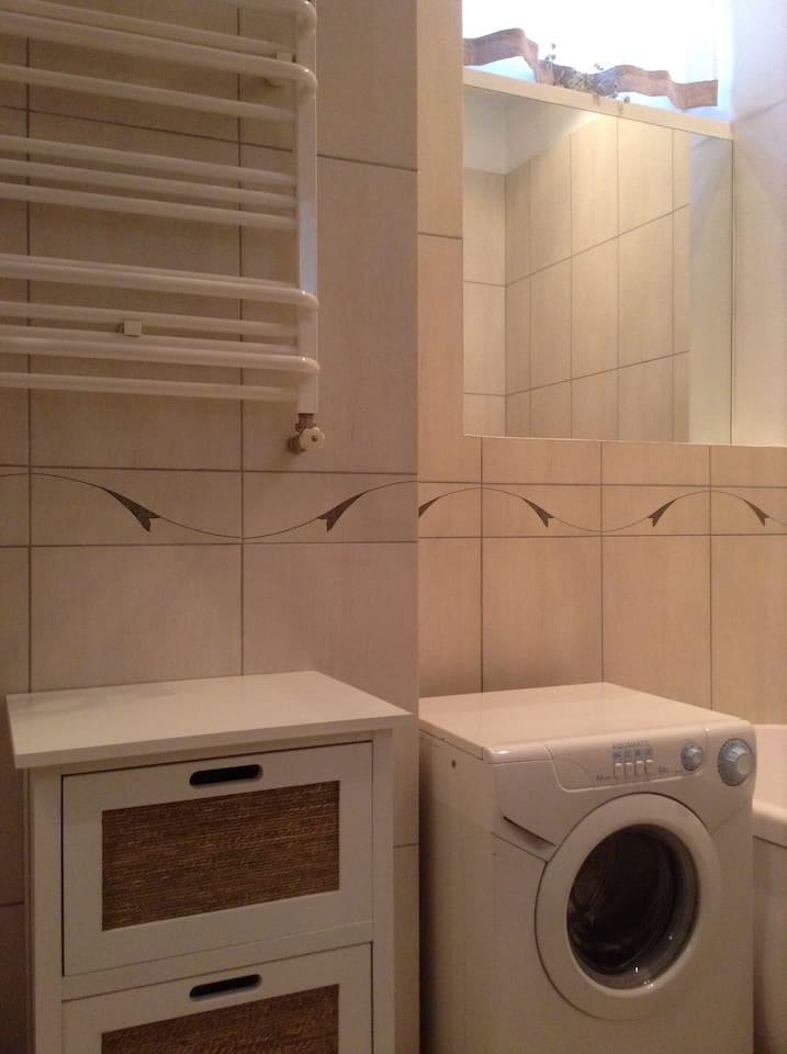 Bathroom washer and cabinet