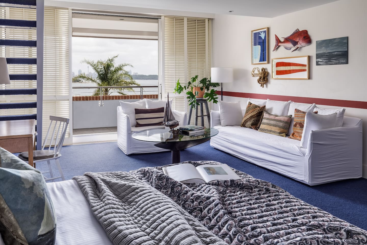 Harbour Loft Room with 1 King Bed & 2 Single Beds with sweeping harbour views