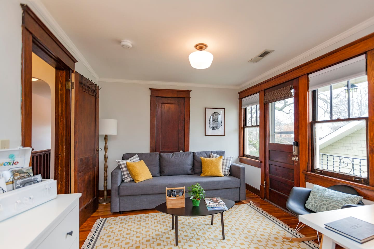 Hang out on the couch to watch TV or look out the window at the view or our neighborhood.