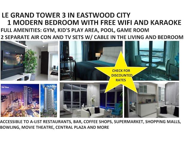 1 BR Le Grand 3 EASTWOOD wFREE WIFI - Quezon City - Apartament