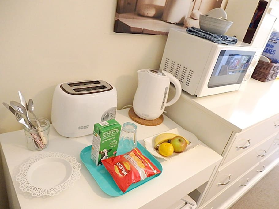 Mini-fridge, Microwave, kettle, toaster in the room.