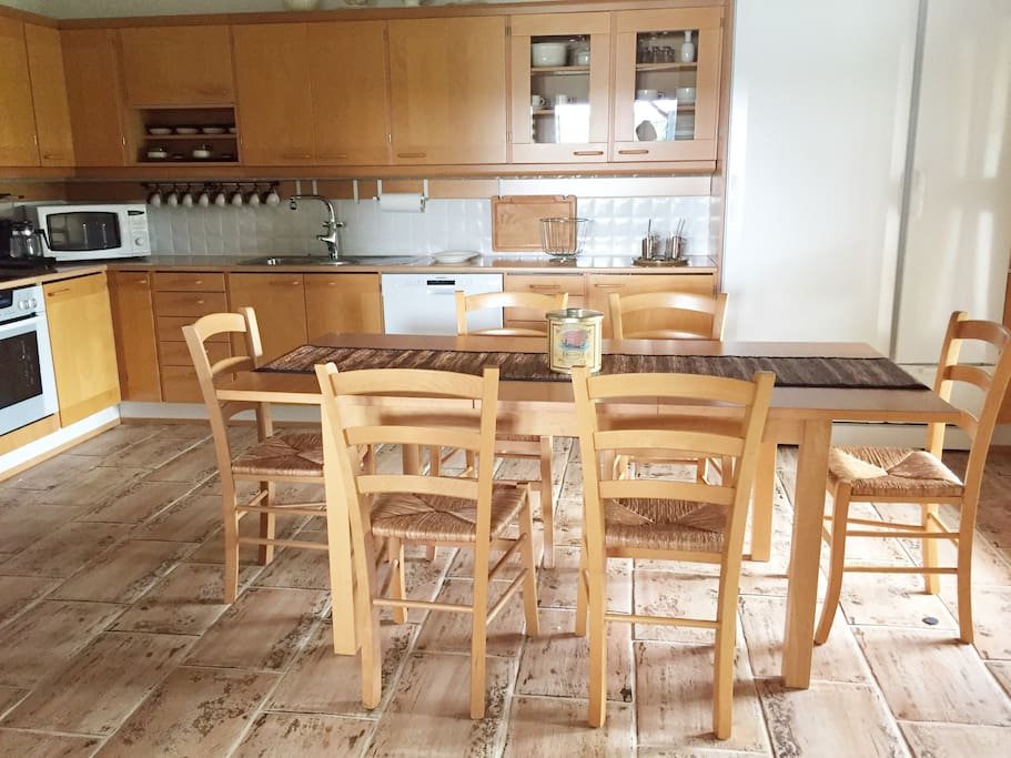 Kitchen for 8 persons . Fully equiped and terasse with a view to old appletree garden.