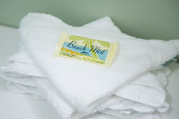 Fresh towels and face/body soap are left for every guest. Since we don't yet have in-unit laundry (but it is available on-site), we always provide extra towels!