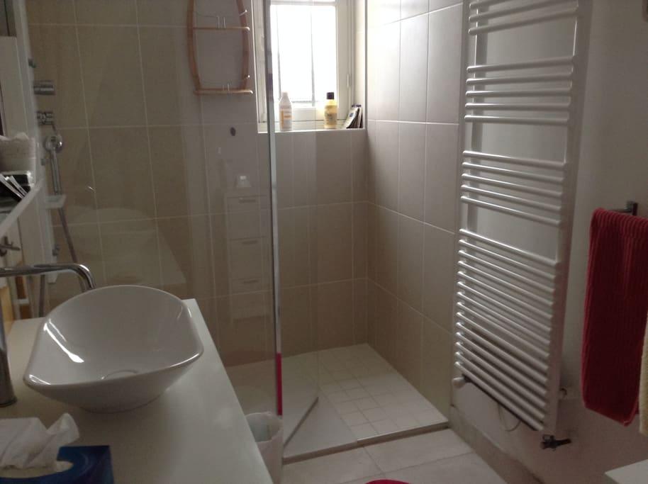 salle de douche avec jets massants