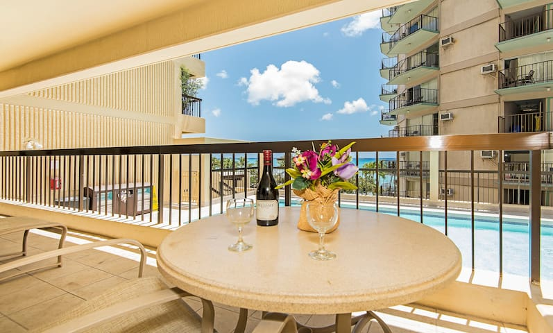 Condo Lanai Overlooking the Ocean and Hotel Pool