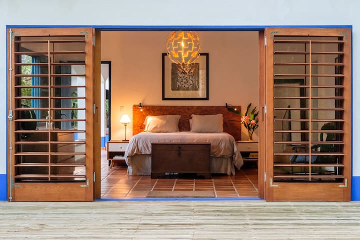 The Master Bedroom is comfortable, ample, with it's own deck.