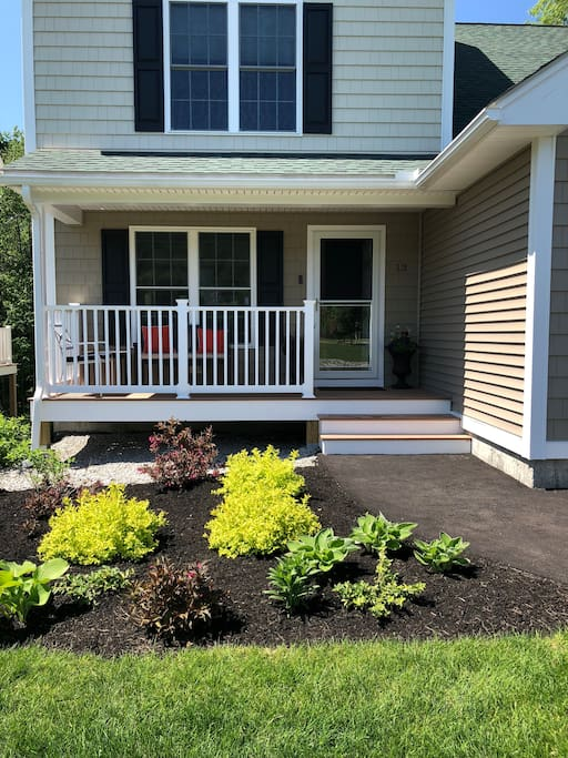 Landscaping is beautiful and the outdoor space is large