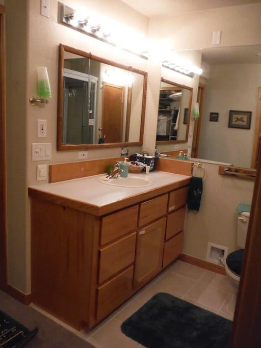 Private en suite bathroom with walk-in closet.