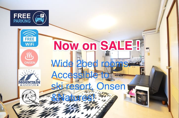 01.Free parking! 2bed rooms! Clean&Close to Onsen.